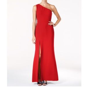 Red Calvin Klein One Shoulder A Line Gown